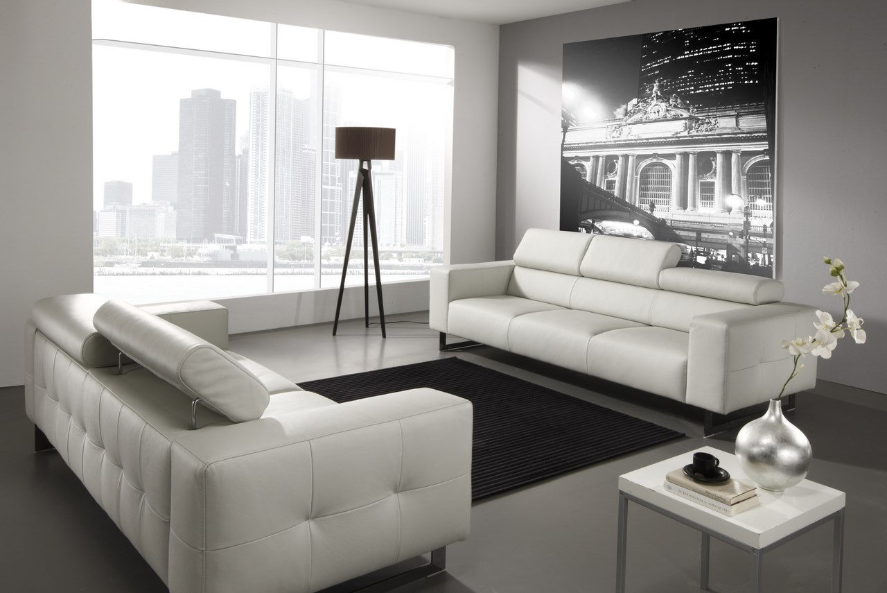 le canape en cuir blanc pour une decoration epuree blog de seanroyale. Black Bedroom Furniture Sets. Home Design Ideas