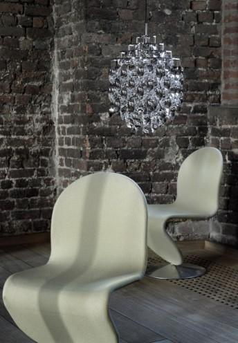 Lot de 2 chaises Verner Panton en tissus Kvadrat Tonus 4, Hallingdal 65