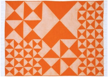 Plaid Verpan MIRROR en pure laine Mérinos orange