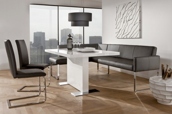 Petite banquette d'angle PUREdining design en cuir 130 x 169 cm