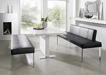 Banc PUREdining 190 cm design cuir et chrome