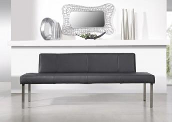 Banquette PUREdining 220 cm, cuir ou tissu et chrome
