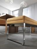 DEXTER, banc design 205 cm cuir et chrome