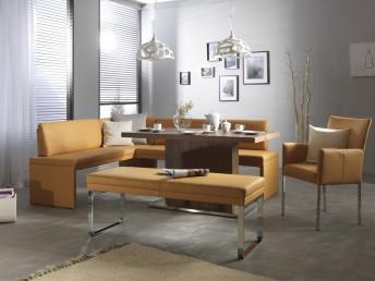 Banquette d'angle DEXTER moderne, cuir ou tissu 207 x 266 cm