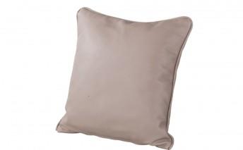 Petit coussin cuir ou tissu carré 43 x 43 cm, plumes ou mousse