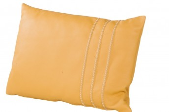 Coussin cuir rectangulaire coutures fantaisie 60 x 40 cm
