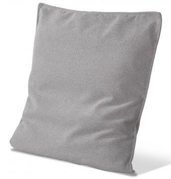 Coussin plat tissu uni 60 x 60 cm finition passepoil cuir