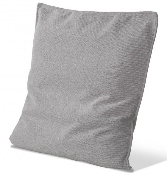 Coussin tissu carré 60 x 60 cm plat finition passepoil cuir