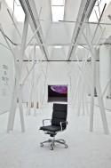 Fauteuil bureau assise rembourrée en cuir dossier haut LIGHT