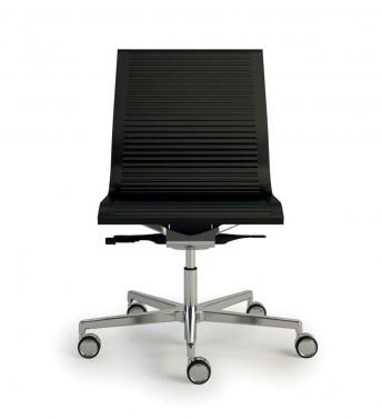 NULITE chaise cuir ou tissu striée sur roulettes de bureau design