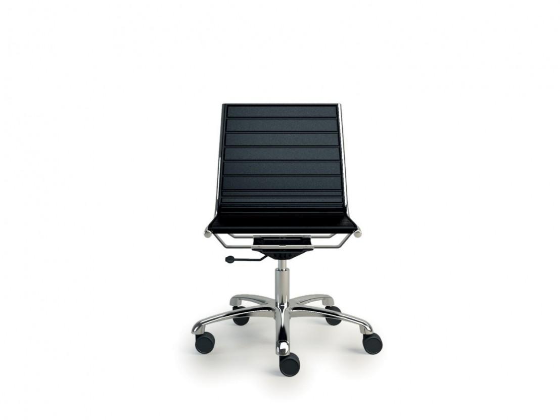 fauteuil light sans accoudoir dossier bas roulettes en cuir. Black Bedroom Furniture Sets. Home Design Ideas