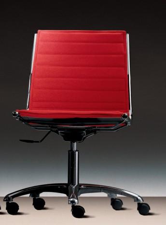 LIGHT fauteuil sans accoudoir dossier bas et roulettes en cuir ou tissu