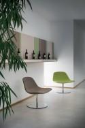 Fauteuil design LLOUNGE LUXY cuir ou tissu pied croix plat ou base ronde plate