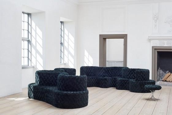 Canapé 3 places Cloverleaf modulable en tissu Kvadrat ARGO 982, Raf SIMONS