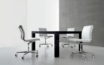 Chaise de bureau NULITE dossier bas en cuir ou tissu rembourré