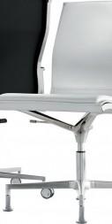 Chaise de bureau executive NULITE pivotant sans roulettes cuir pleine fleur