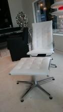 Chaise longue + repose pied TAYLORD LUXY cuir pleine fleur blanc