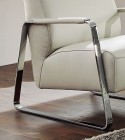 BOY, petit fauteuil cuir ou tissu accoudoirs métal gainés