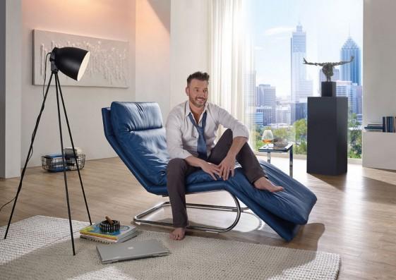 Chaise longue ABSOLUTE relax manuelle en cuir ou tissu