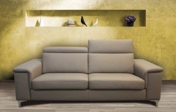 Canapé 2 places KAYLE en cuir ou tissu avec appuis-tête
