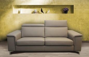 Canapé KAYLE en cuir ou tissu avec appuies-tête 2 places