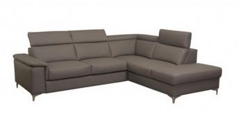 Petit canapé KAYLE d'angle 5 places cuir ou tissu Ottomane