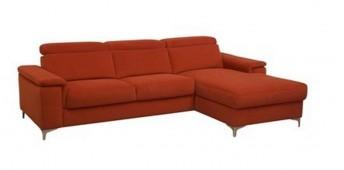 Canapé d'angle KAYLE tissu ou cuir avec chaise longue et têtières