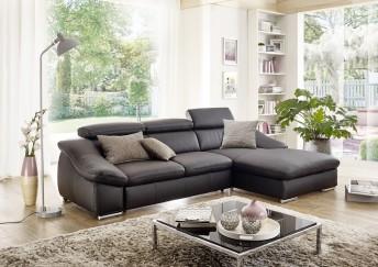 Canapé ALOW.B d'angle cuir ou tissu 3 places chaise longue