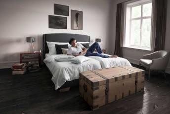 Ensemble lit complet matelas + sommier + tête de lit SIDY 140 cm
