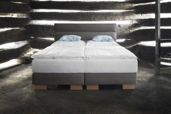 Lit complet 100% BIO LINE tête de lit moderne + sommier + matelas BIO.SPRING.ROYAL VITALWOOD