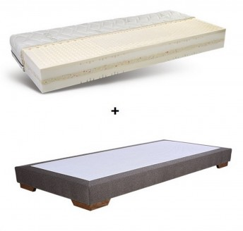 Matelas bio double conforts avec mousse recyclée SPIRIT.NATURAL multizones, 160 x 200 cm + sommier ERGO.BOX