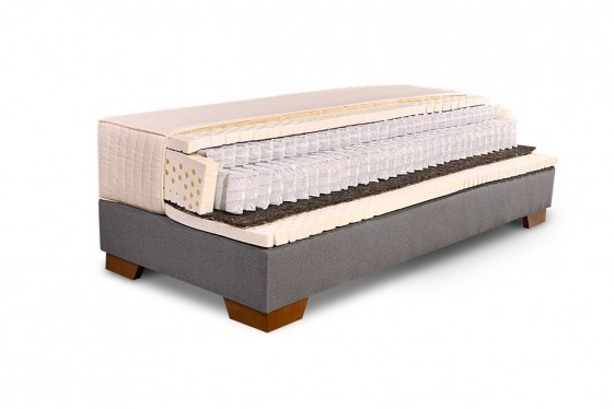 Matelas en latex 100% naturel à triple ressorts ensachés NATURAL.ASLEEP et sommier ERGO.BOX, 160x200 cm.