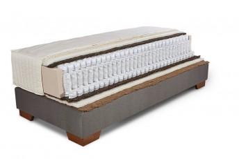 Ensemble sommier tapissier ERGO.BOX et matelas à triple ressorts ensachés et fibres naturelles ELISA