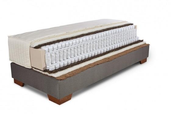 Ensemble sommier tapissier ERGO.BOX et matelas à triple ressorts ensachés et fibres naturelles ELISA, 140x200 cm