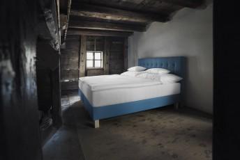 Lit complet 100% BIO PRESTIGE tête de lit capitonnée + sommier + matelas PERFECT.SPRING.ROYAL VITALWOOD