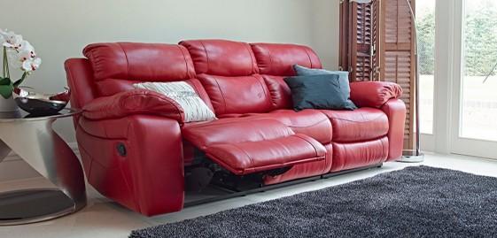 Canapé traditionnel 3 places relax manuel KLASSIKRELAX cuir ou tissu