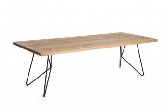 Très grande table MONSIEUR T acier et bois massif de chêne « naturel », arête biseautée 100x250 cm