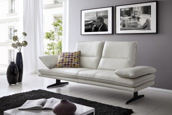 Canapé-banc en cuir ou tissu ALWIN.C 2 places