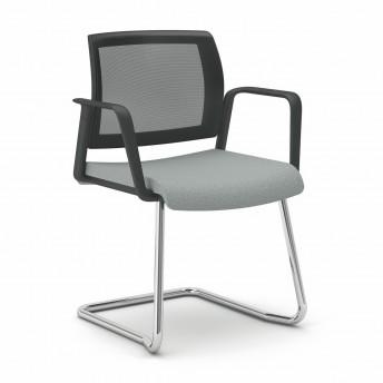 OFFICE 655 chaise de bureau avec accoudoirs dossier maille, pied luge