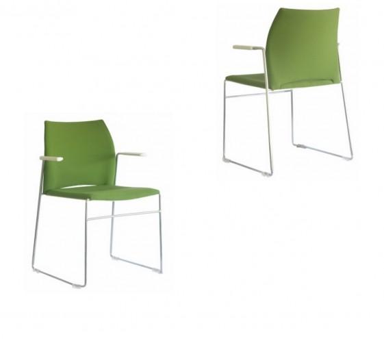 MEETING 305 Chaises de bureau avec accoudoirs, tapissées, lot de 6