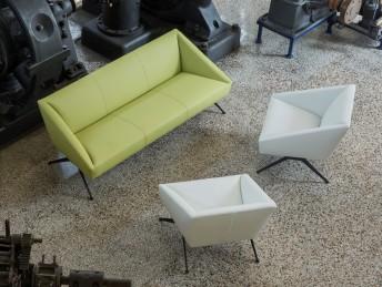 Salon d'accueil AMARCORD 1 canapé 3 places + 2 fauteuils LUXY cuir ou tissu