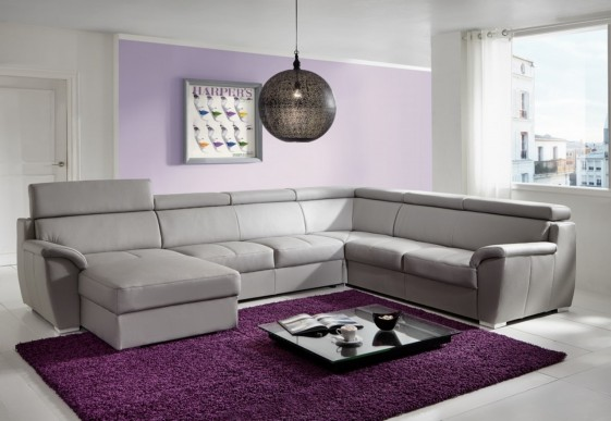 Grand canapé d'angle Shane en U 6 places cuir ou tissu