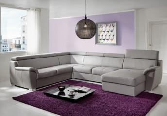 Très grand canapé d'angle Shane panoramique 7 places en U cuir ou tissu
