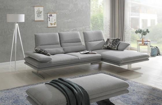 Canapé d'angle ALWIN.C 3,5 places chaise longue, assises réglables, appuies-tête multi-positions tissu ou cuir