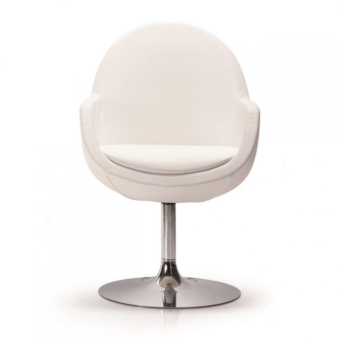 Petit fauteuil de bureau rond pivotant en cuir SYD