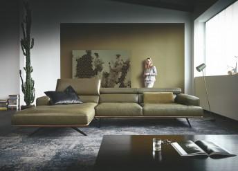 Canapé 2,5 places TEMPERANT.PM avec chaise longue large, profondeur d'assise modifiable