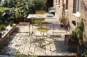 Ensemble table de jardin TINA carrée 100 cm et 4 chaises, métal acier de couleur et bois massif