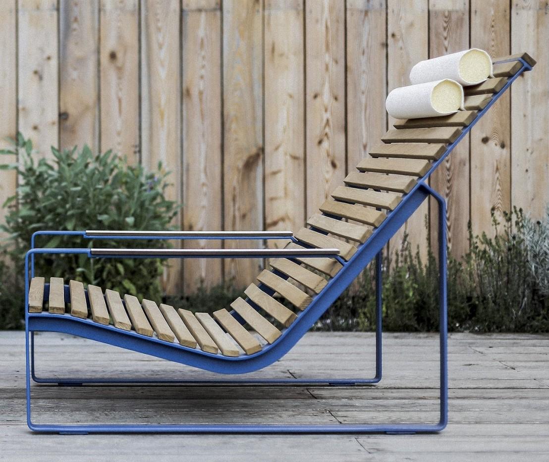 Fauteuil lounge transat PRÉVA, extérieur de jardin en métal acier ...