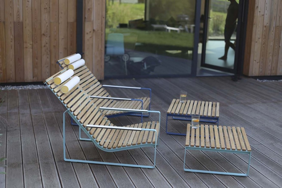 Fauteuil lounge transat PRÉVA, extérieur de jardin en métal ...