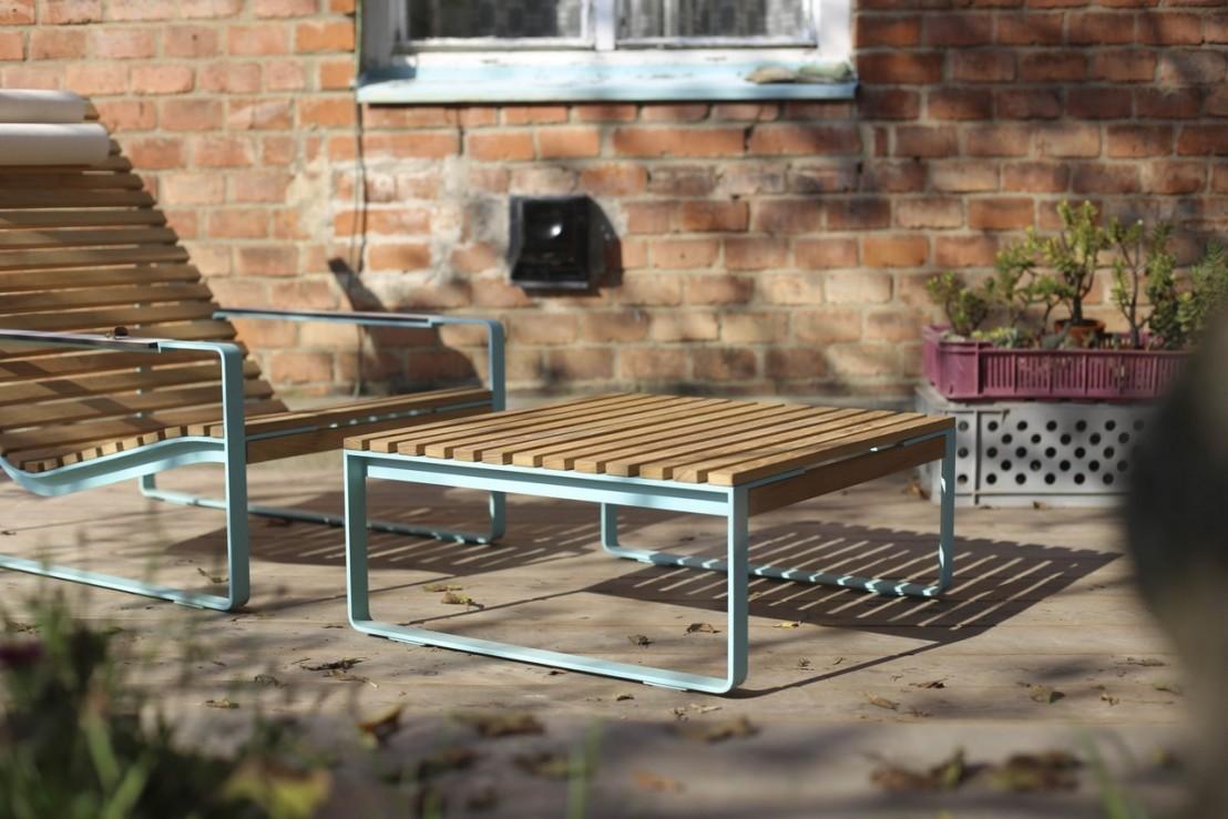 Table basse carrée de jardin PRÉVA, métal acier de couleur ...